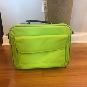 Lime green laptop case with shoulder strap